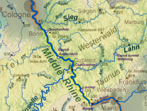 Middle Rhine stretching from Bingen to Cologne